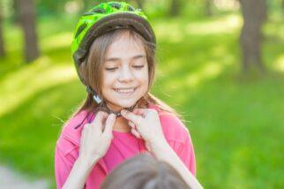 Child's helmet too far back