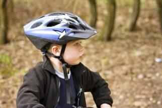 Kids bike helmet long chin strap