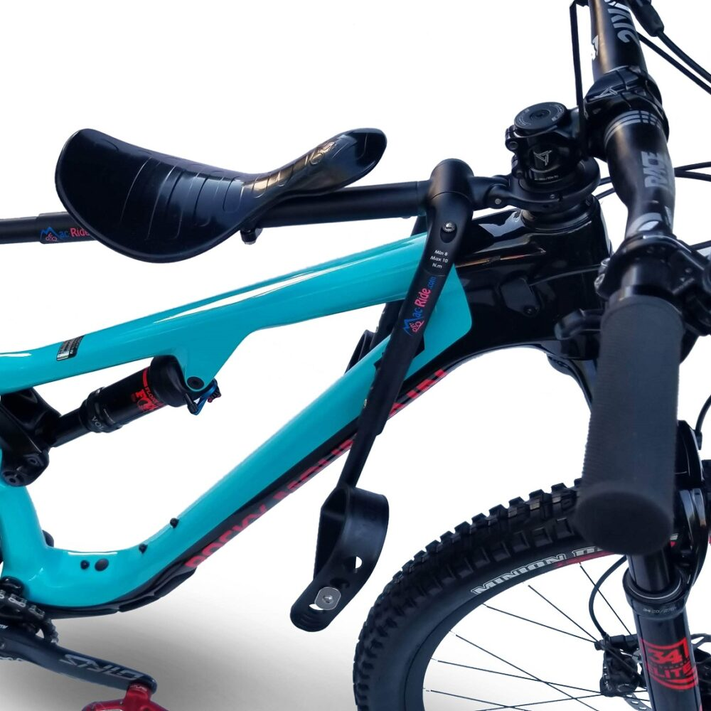 Mac Ride front bike seat for mountain biking with a child