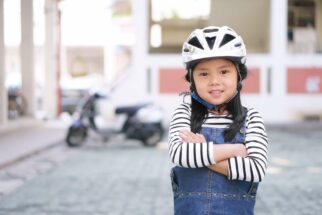 Correctly fitted child's helmet