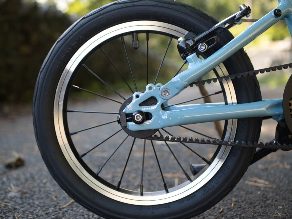 The Hornit HERO range of kids bikes come with a belt drive rather than a traditional bike chain